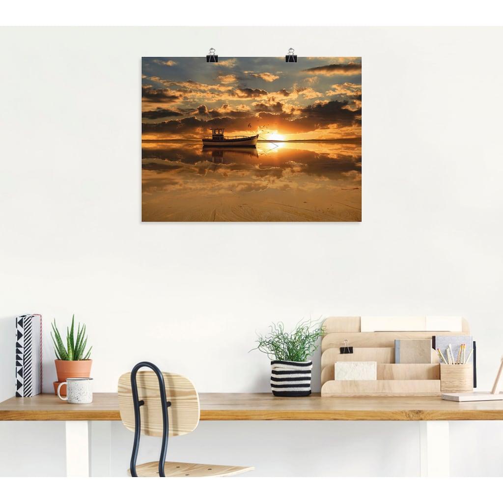 Artland Wandbild »Das Fischerboot im Sonnenuntergang«, Boote & Schiffe, (1 St.), in vielen Größen & Produktarten -Leinwandbild, Poster, Wandaufkleber / Wandtattoo auch für Badezimmer geeignet
