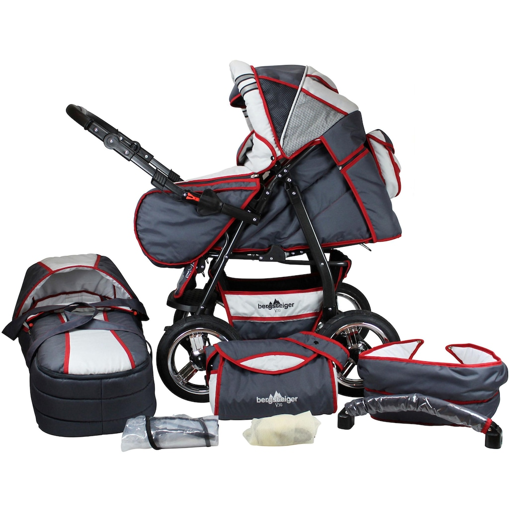 bergsteiger Kombi-Kinderwagen »Rio, grey & red stripes, 3in1«, mit Lufträdern; Made in Europe; Kinderwagen