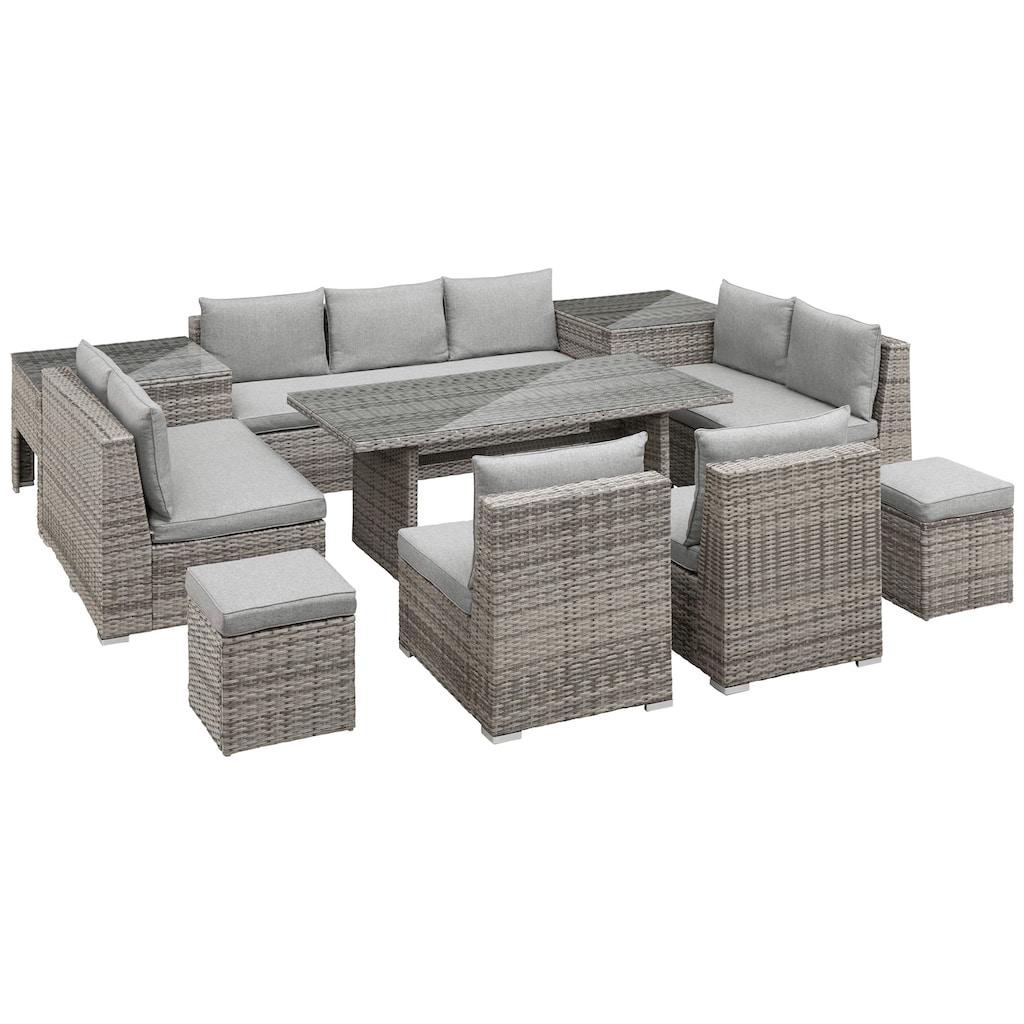 KONIFERA Loungeset »Florida«, (26 tlg.), 3-er Sofa, 2x 2-er Sofa, 2 Sessel,2 Hocker, 3 Tische