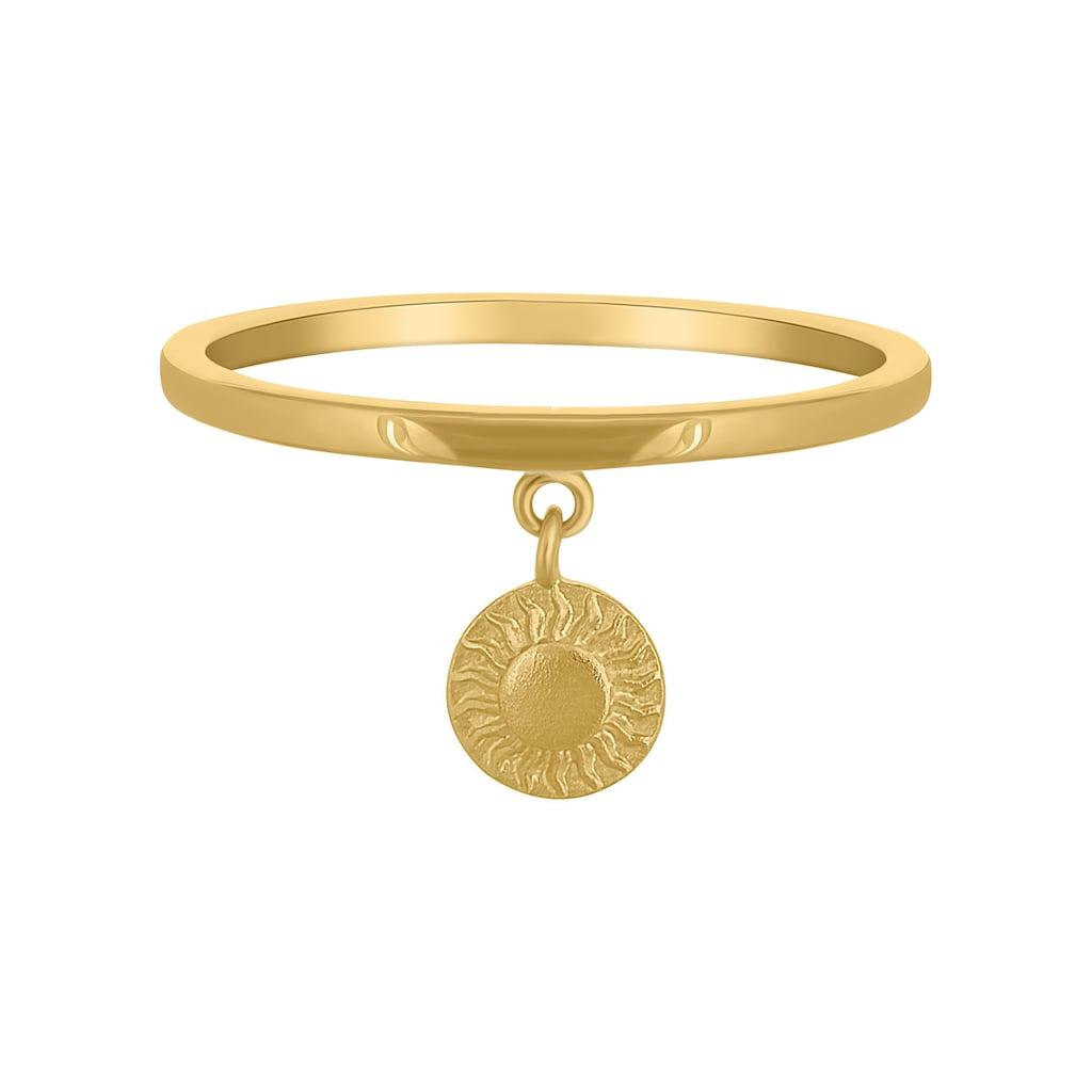 CAÏ Silberring »925 Silber vergoldet Anhänger Münze Sonne«, Mattiert