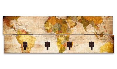 Artland Garderobenpaneel »Weltkarte«, platzsparende Wandgarderobe aus Holz mit 4... kaufen