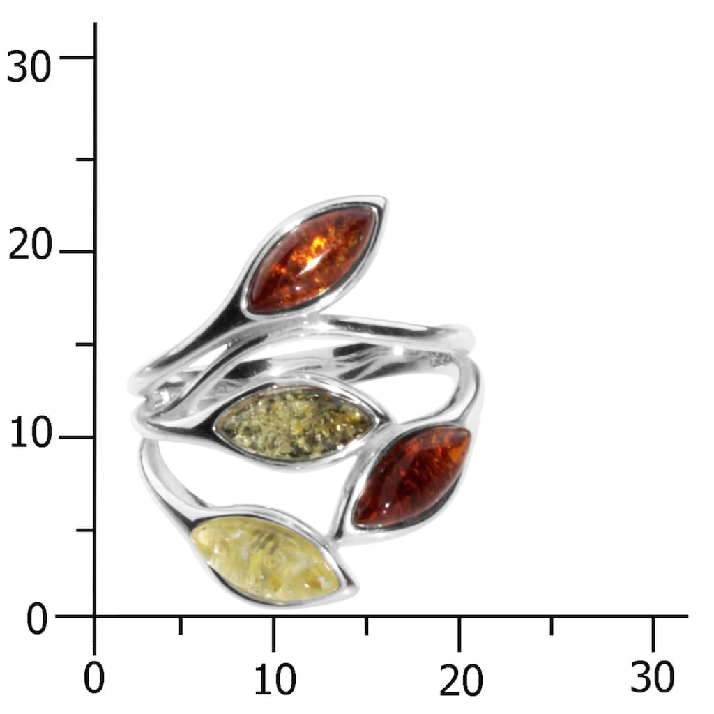 OSTSEE-SCHMUCK Fingerring »- Smilla-Lotta - Silber 925/000 - Bernstein«, (1 tlg.)