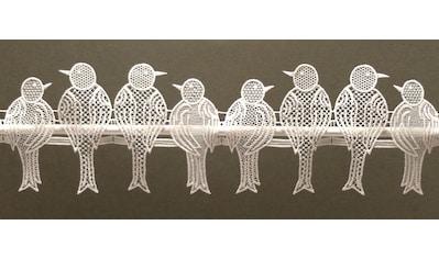 Scheibengardine, »Spatzen«, Stickereien Plauen, Stangendurchzug 1 Stück kaufen