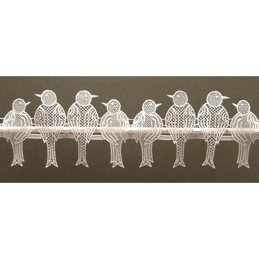 Stickereien Plauen Scheibengardine »Spatzen«