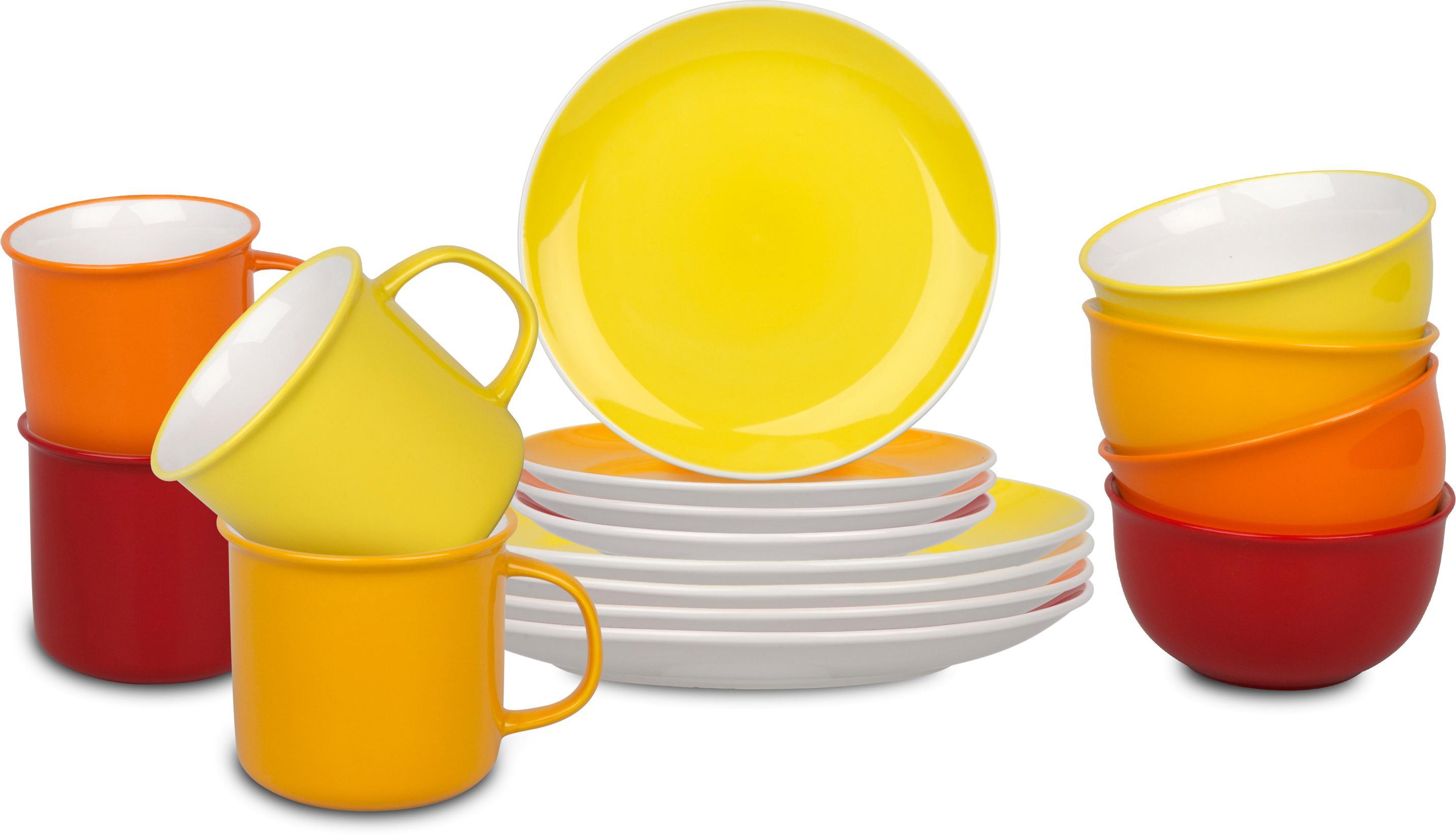 Könitz Kombiservice Elements, (Set, 16 tlg.), handdekoriert gelb Geschirr-Sets Geschirr, Porzellan Tischaccessoires Haushaltswaren