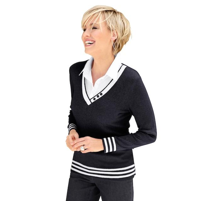 Casual Looks 2-in-1-Pullover mit Zierknöpfen am V-Ausschnitt