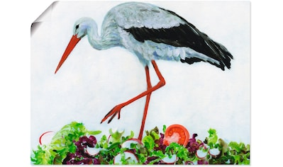 Artland Wandbild »Wie ein Storch im Salat«, Vögel, (1 St.), in vielen Größen &... kaufen