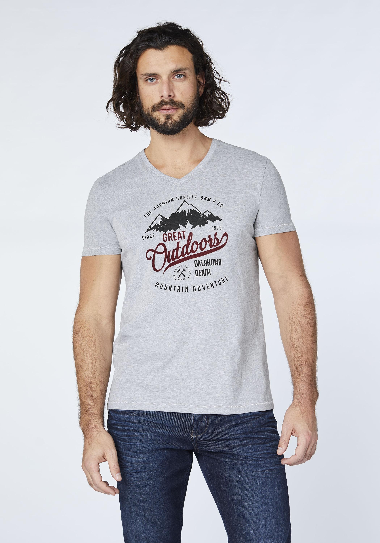 oklahoma premium denim -  T-Shirt mit V-Ausschnitt - GOTS zertifiziert