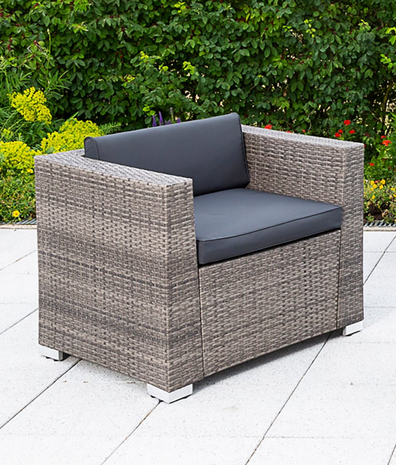 MERXX Loungesessel Sessel Bari Deluxe Stahl/Kunststoffgeflecht inkl Kissen