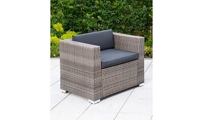 MERXX Loungesessel »Sessel Bari Deluxe«, Stahl/Kunststoffgeflecht, inkl. Kissen kaufen