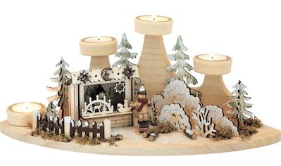 HGD Holz - Glas - Design Teelichtleuchter Weihnachtshütte kaufen