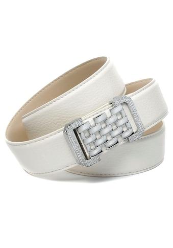 Anthoni Crown Ledergürtel, in Hirschprägung, weiß, grafische Schließe kaufen