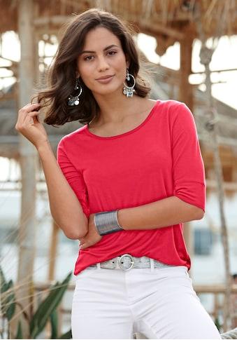 LASCANA 3/4-Arm-Shirt, mit breitem Ärmelsaum kaufen