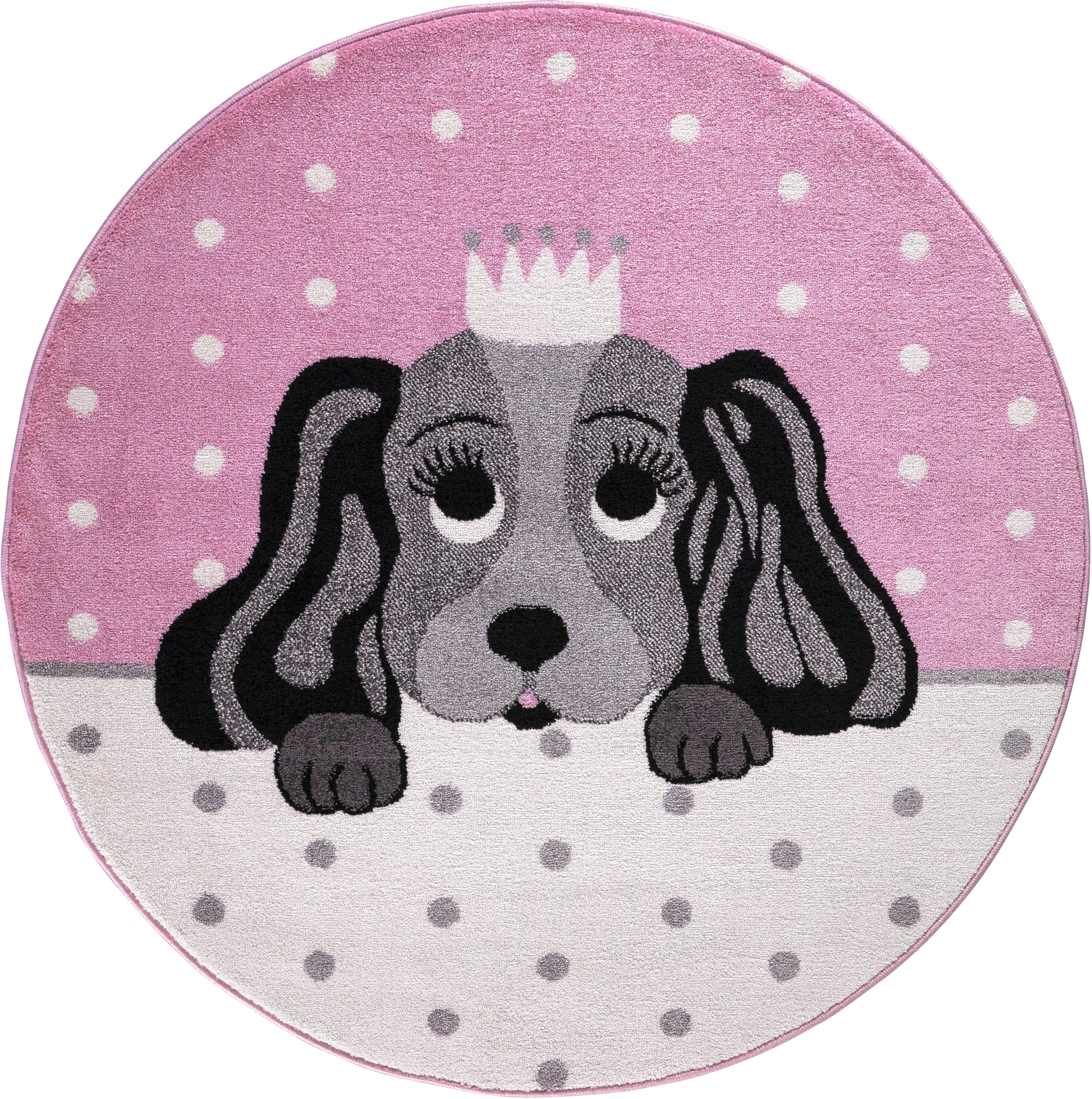 Festival Kinderteppich Candy 156, rund, 11 mm Höhe, Motiv Hund rosa Kinder Kinderteppiche mit Teppiche