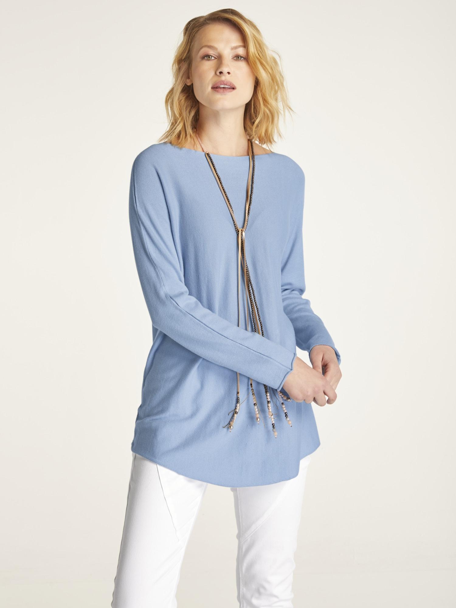 heine CASUAL Longpullover | Bekleidung > Pullover > Longpullover | Blau | Baumwolle | Heine Casual