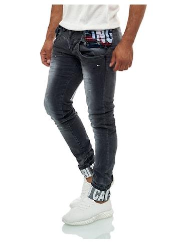 KINGZ Slim-fit-Jeans, im ausgefallenen Design mit feinen Akzenten kaufen