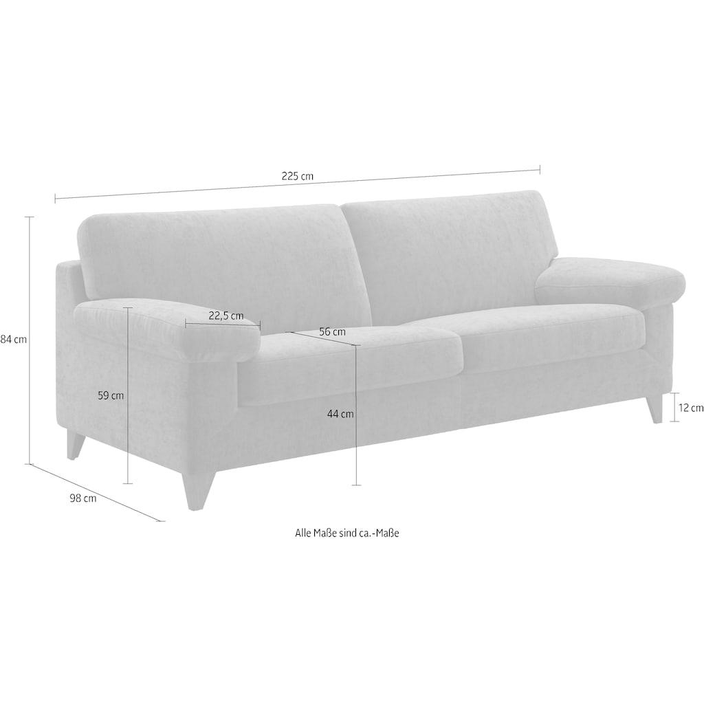 machalke® 3-Sitzer »diego«, mit weichen Armlehnen, Füße wengefarben, Breite 225 cm