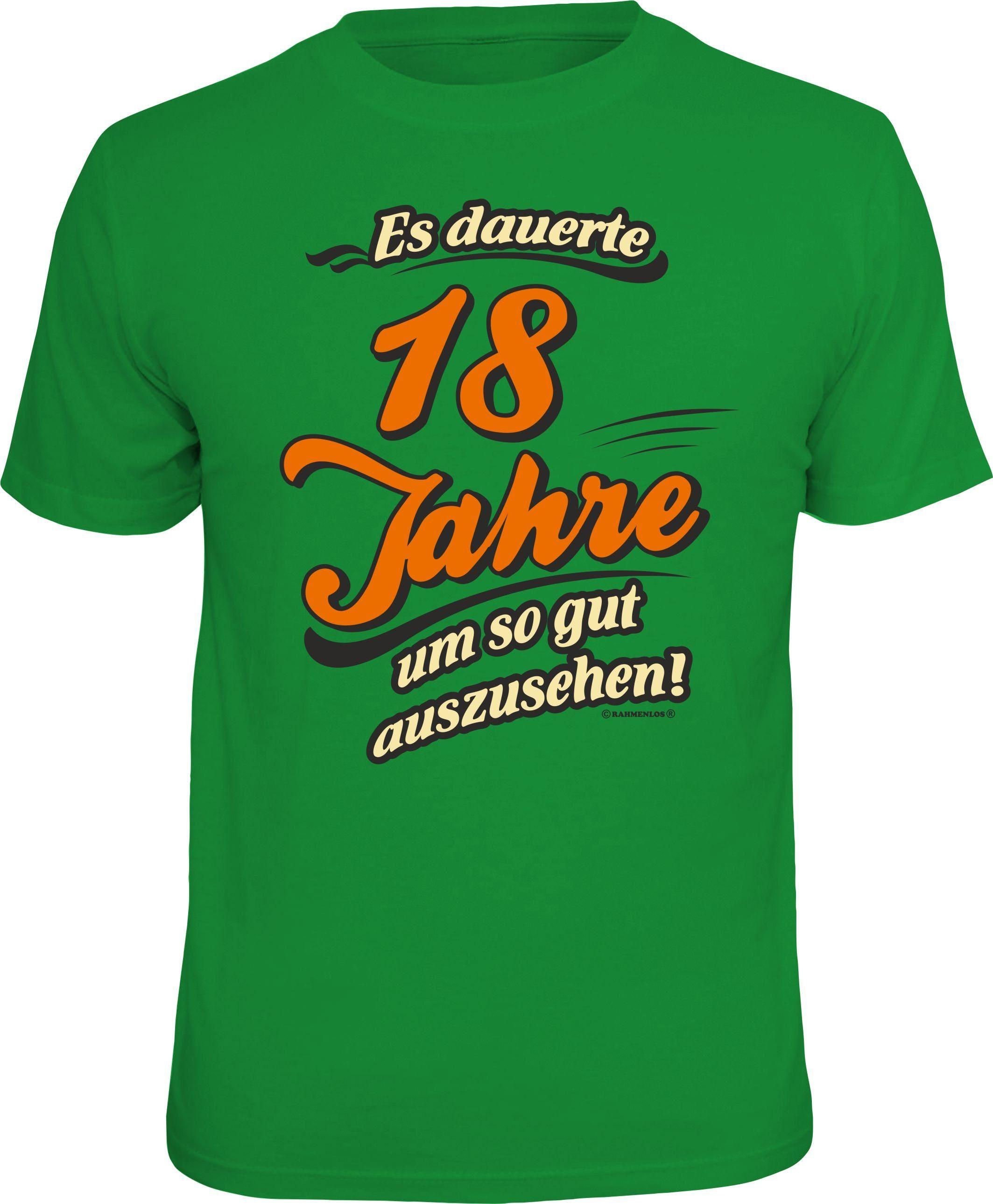 Rahmenlos T-Shirt »Es dauerte 18 Jahre um so gut auszusehen« | Bekleidung > Shirts > Sonstige Shirts | Grün | Baumwolle | RAHMENLOS