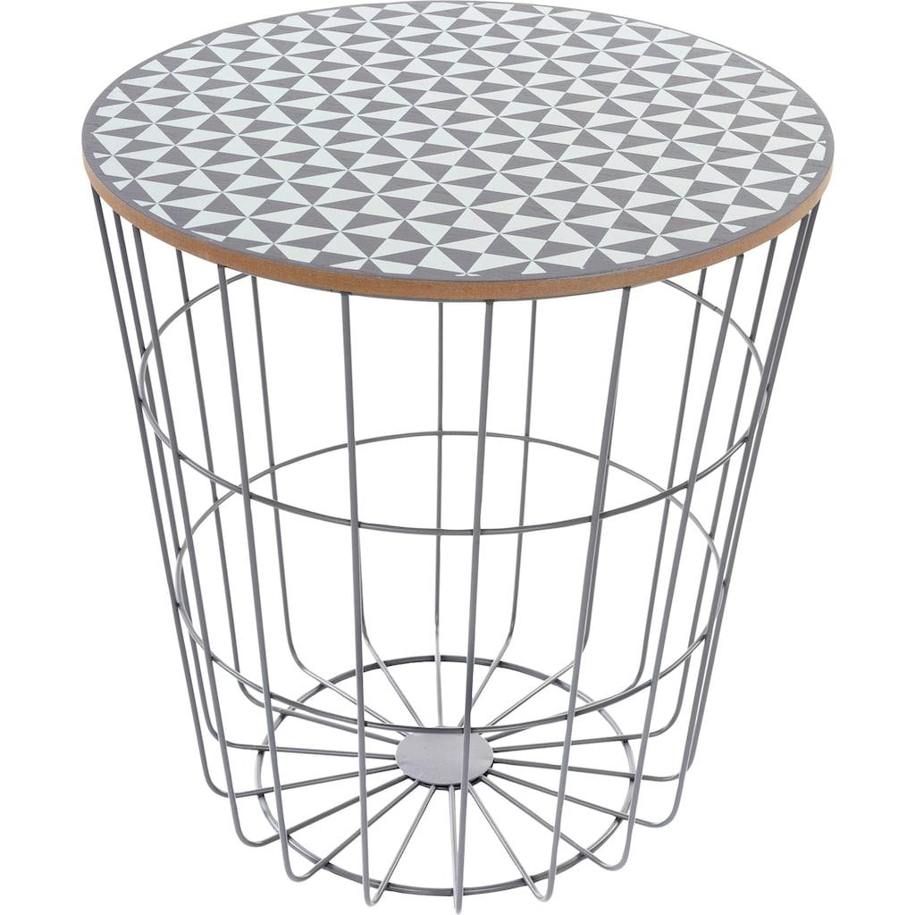 my Flair Beistelltisch »Eugen«, Beistelltisch Rund, lackiertem Gestell und Tischplatte, Gemusterte Tischplatte im Skandinavischem Design