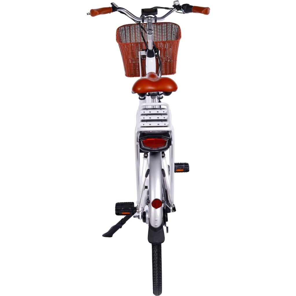 LLobe E-Bike »White Motion 2.0, 10,4Ah«, (mit Fahrradkorb)