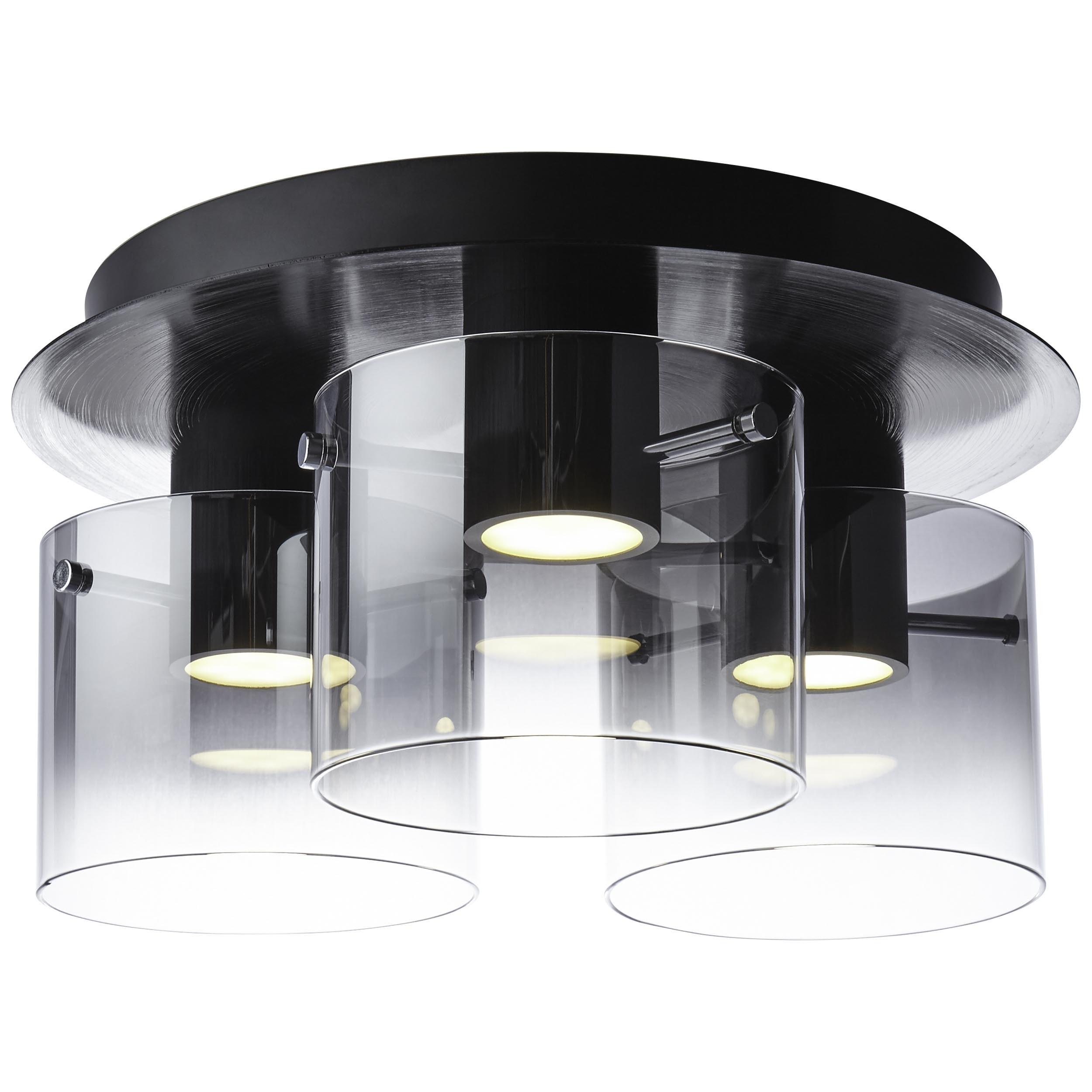 Brilliant Leuchten Deckenleuchten, Hobey LED Deckenleuchte 3flg schwarz/rauchglas