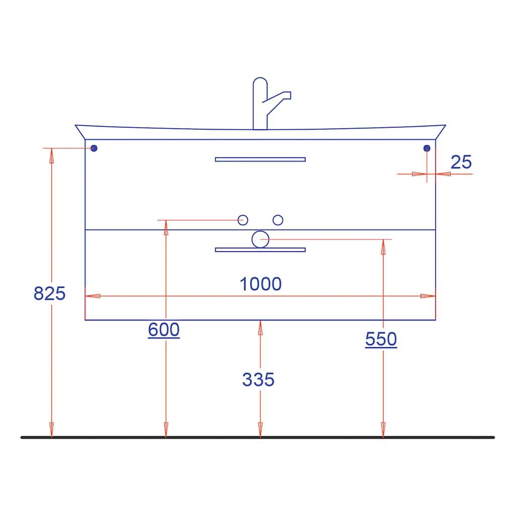 HELD MÖBEL Waschtisch »Florida«, Breite 100 cm, gebogen