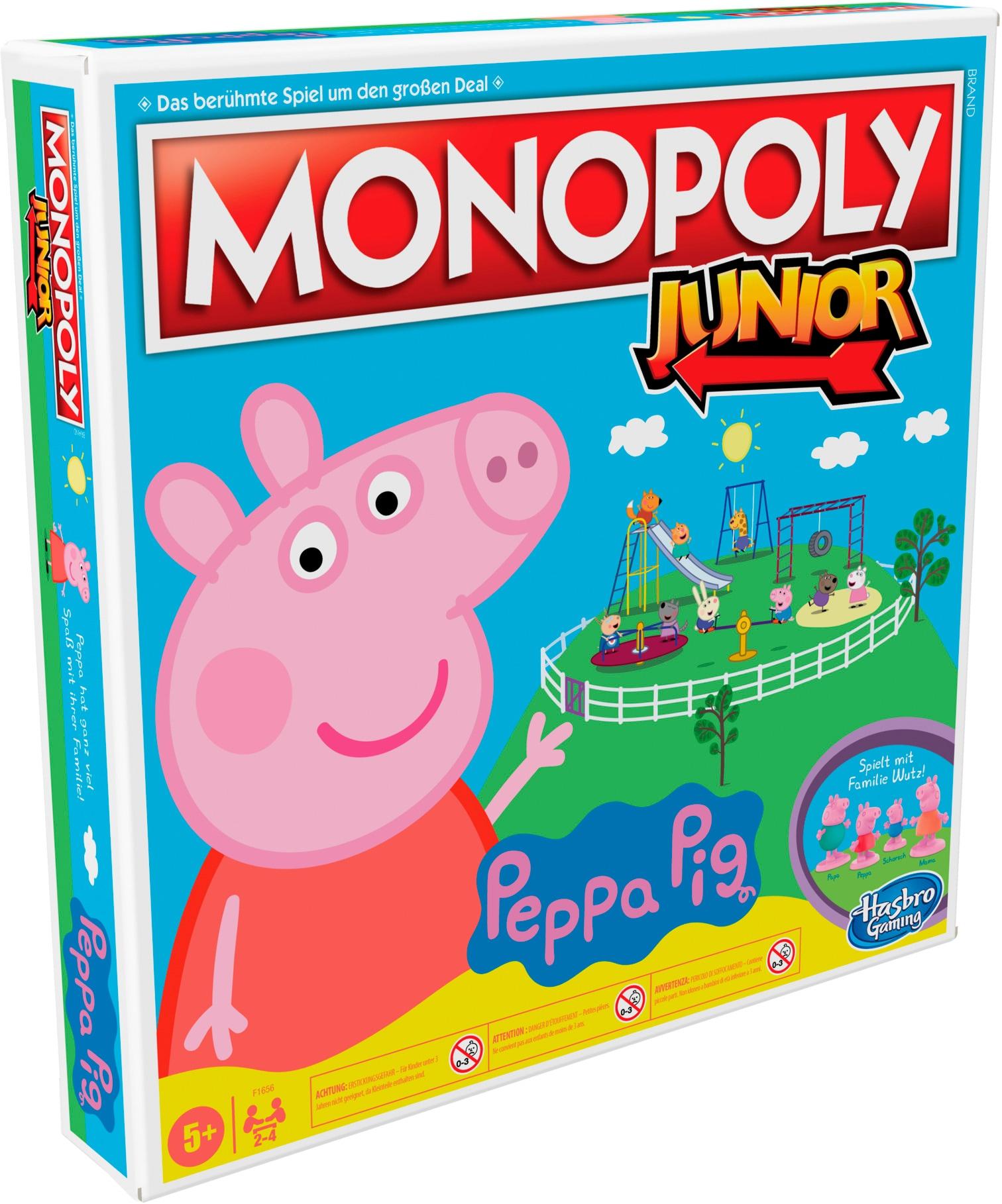 Hasbro Spiel Kinderspiel, Monopoly Junior: Peppa Pig bunt Kinder Spiele-Klassiker Gesellschaftsspiele