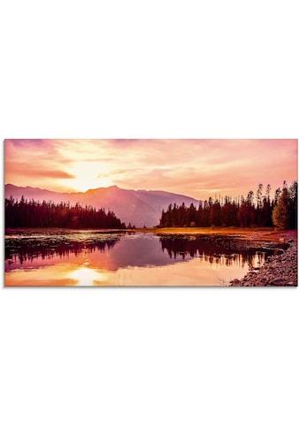Artland Glasbild »Grand Teton Gebirge bei Sonnenuntergang«, Sonnenaufgang &... kaufen
