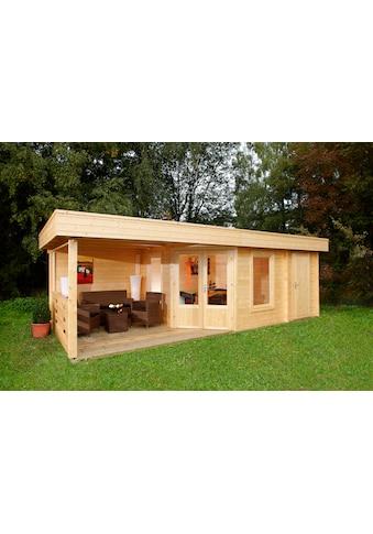 WOLFF FINNHAUS Set: Gartenhaus »Maja 40 - B/2«, BxT: 853x349 cm, Fußboden, Anbaudach mit Rückwand, 2 Räume kaufen