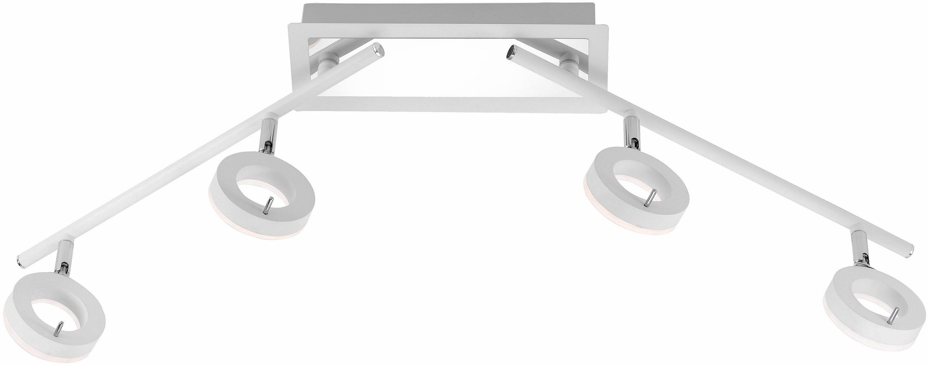 Paul Neuhaus Deckenleuchte SILEDA, LED-Board, Warmweiß, inklusive festverbautem LED Leuchtmittel,IP44 spritzwassergeschützt,Acryglas satiniert (nicht wechselbar), Badeleuchte,Spotköpfe verstellbar,Leuchtenarme beweglich,3000 Kelvin