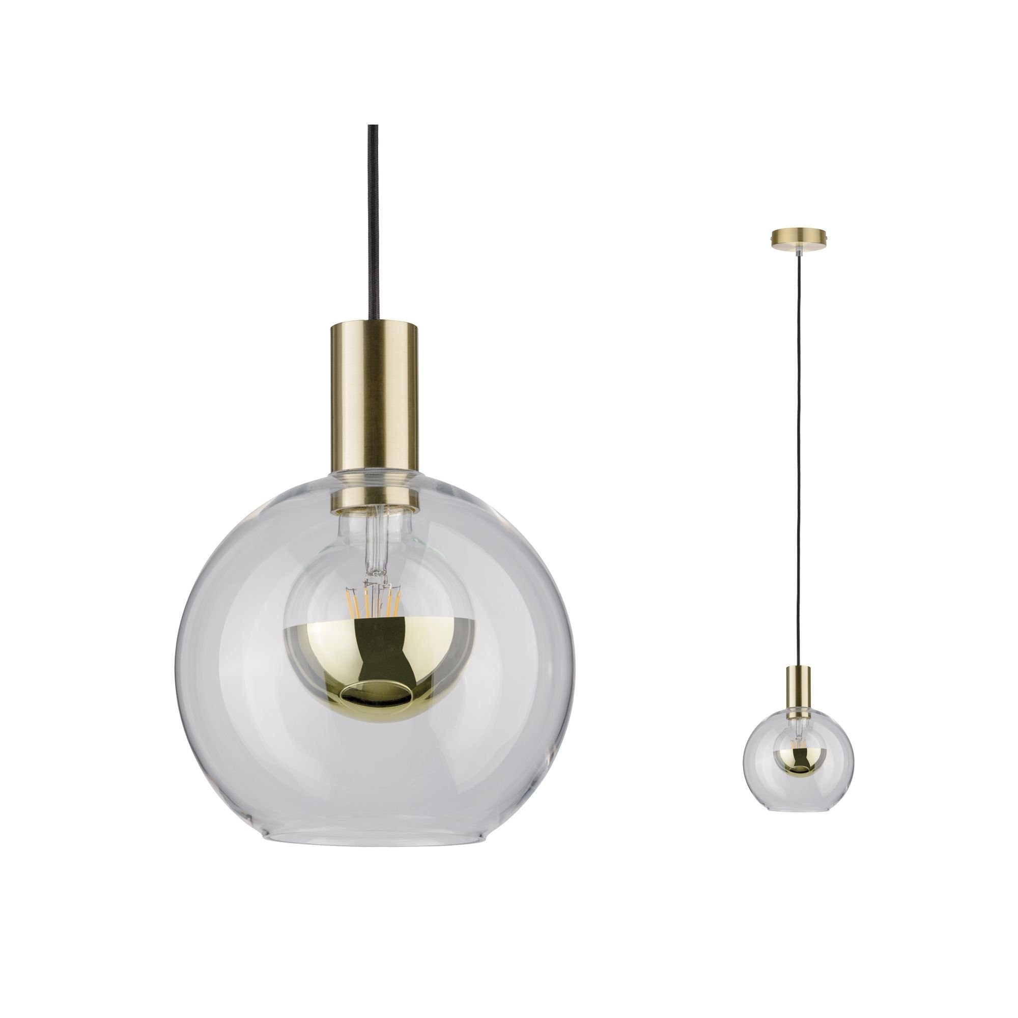 Paulmann,LED Pendelleuchte Esben Klarglas/Messing gebürstet max. 20W E27