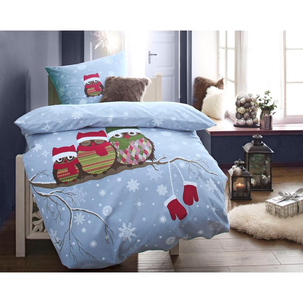 CASATEX Bettwäsche »Eule«, mit winterlichem Motiv
