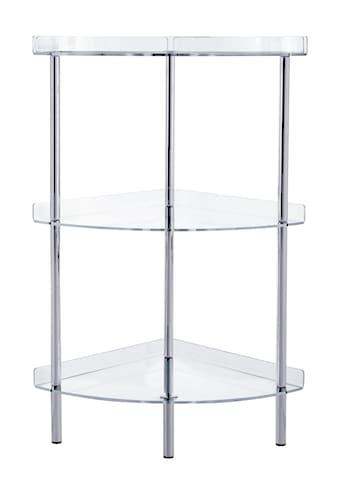 Eckregal mit transparenten Ablagen kaufen