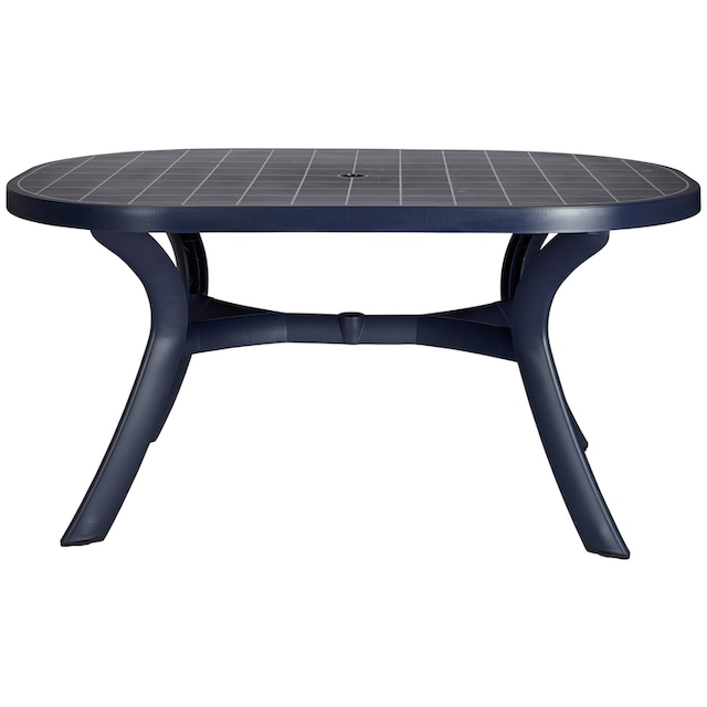 Best 7-tlg. Gartenmöbelset »Kansas«, 6 Klappsessel, Tisch 145x95 cm, Kunststoff, blau, verstellbar