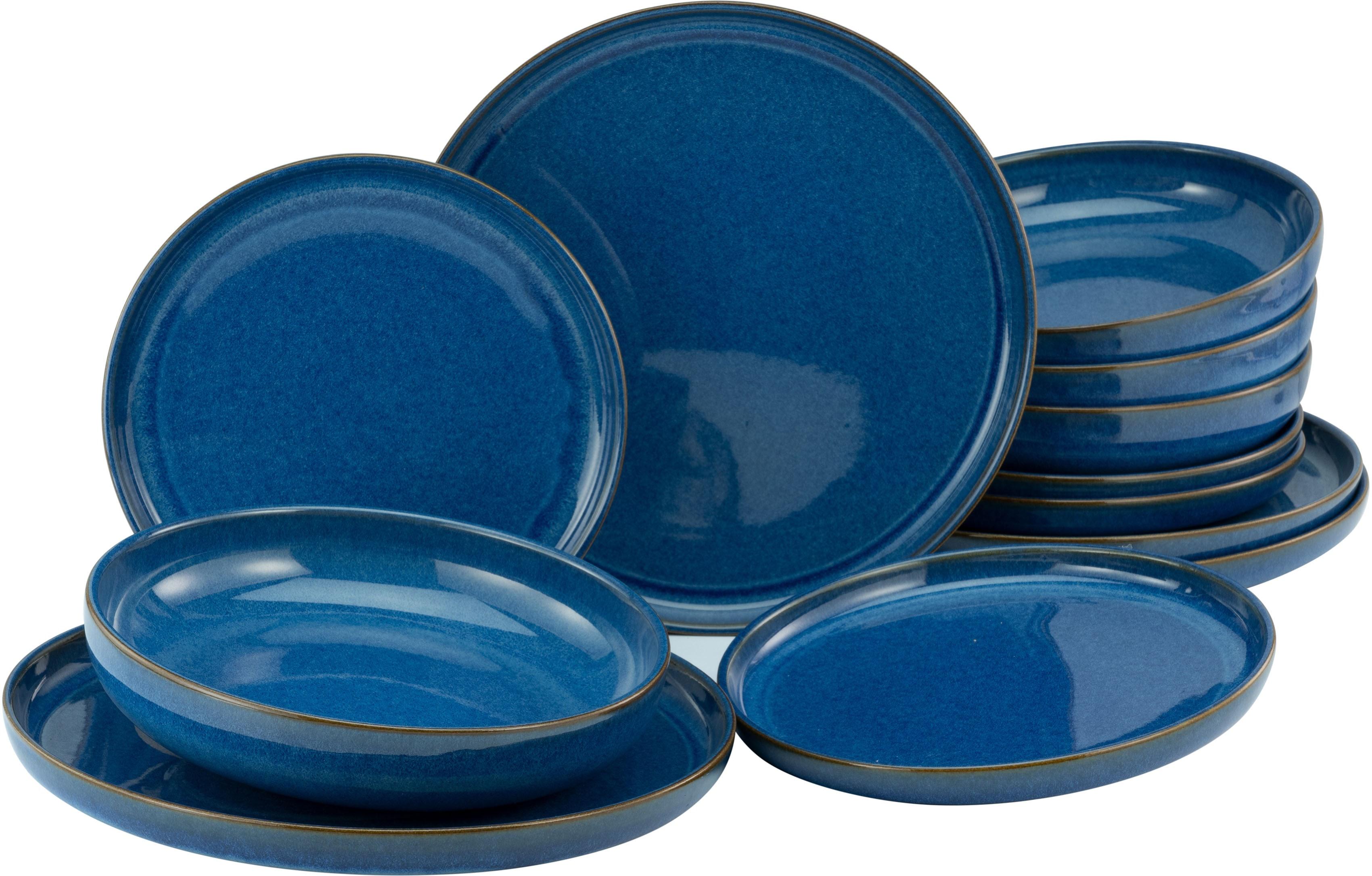 CreaTable Tafelservice Atlantico, (Set, 12 tlg.), mit intensiver Kobalt-Blau-Reaktivglasur blau Geschirr-Sets Geschirr, Porzellan Tischaccessoires Haushaltswaren
