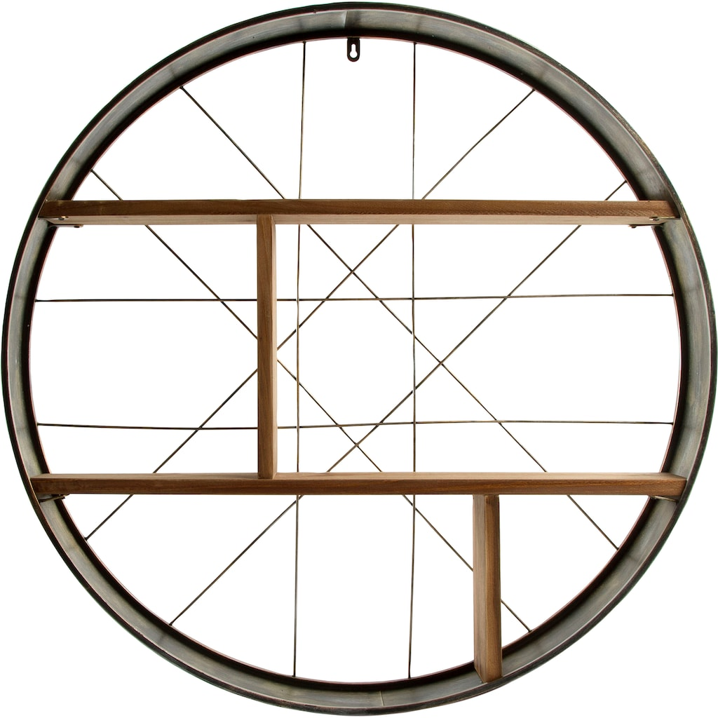 my Flair Wandregal »Graeco«, Holz & Metall, Runde Form, 2 Ablageböden, fertig montiert