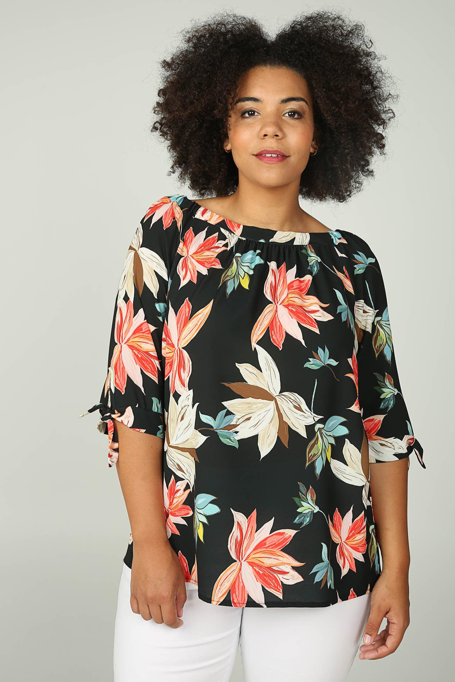 Paprika Druckbluse Bluse mit elastischem Ausschnitt und Blumen-Print