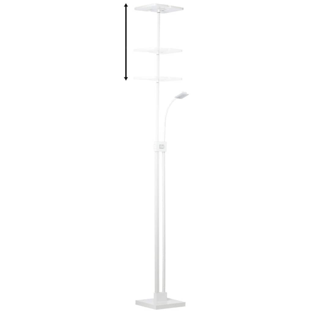 Brilliant Leuchten Stehlampe, Forrester LED Deckenfluter mit Lesearm weiß