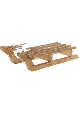 Dekoobjekt »Schlitten«, aus Holz, mit Ästen dekoriert kaufen