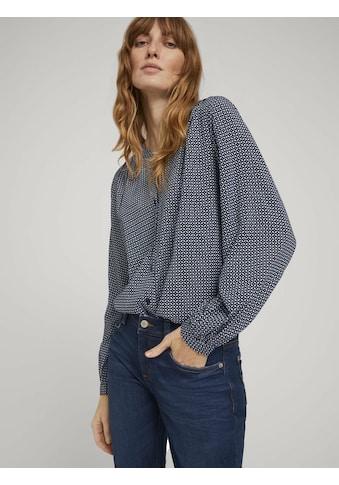 TOM TAILOR Hemdbluse »gemusterte Bluse mit LENZING(TM) ECOVERO(TM) und Knopfleiste« kaufen