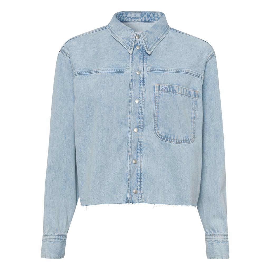 Calvin Klein Jeans Jeansbluse »CROPPED DAD SHIRT«, mit geschnittener Saumkante im Vintage-Look