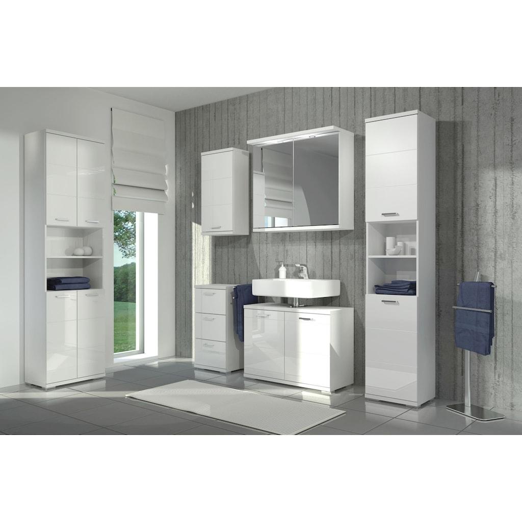 Homexperts Hochschrank »Nusa«, Breite 35 cm, Badezimmerschrank mit Metallgriffen, welchselbarer Türanschlag und 2 praktische offene Fächer, MDF-Front in Hochglanz-Optik