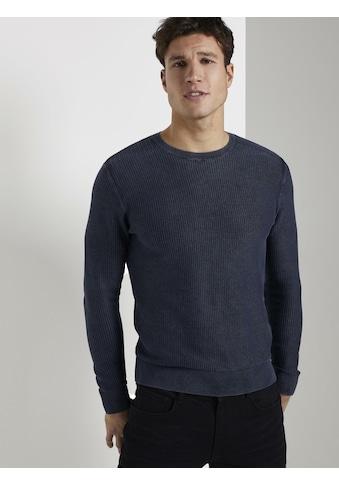 TOM TAILOR Rundhalspullover »Strukturierter Sweater im Washed-Look« kaufen