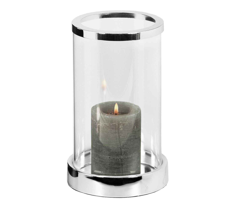 EDZARD Windlicht Sanremo, Kristallglas mit Platinrand farblos Kerzenhalter Kerzen Laternen Wohnaccessoires