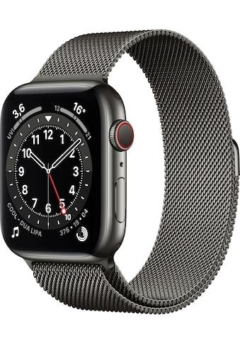 Apple Watch »Series 6 GPS + Cellular, Edelstahlgehäuse mit Milanaise Armband 44mm« (, Watch OS, inkl. Ladestation (magnetisches Ladekabel) kaufen