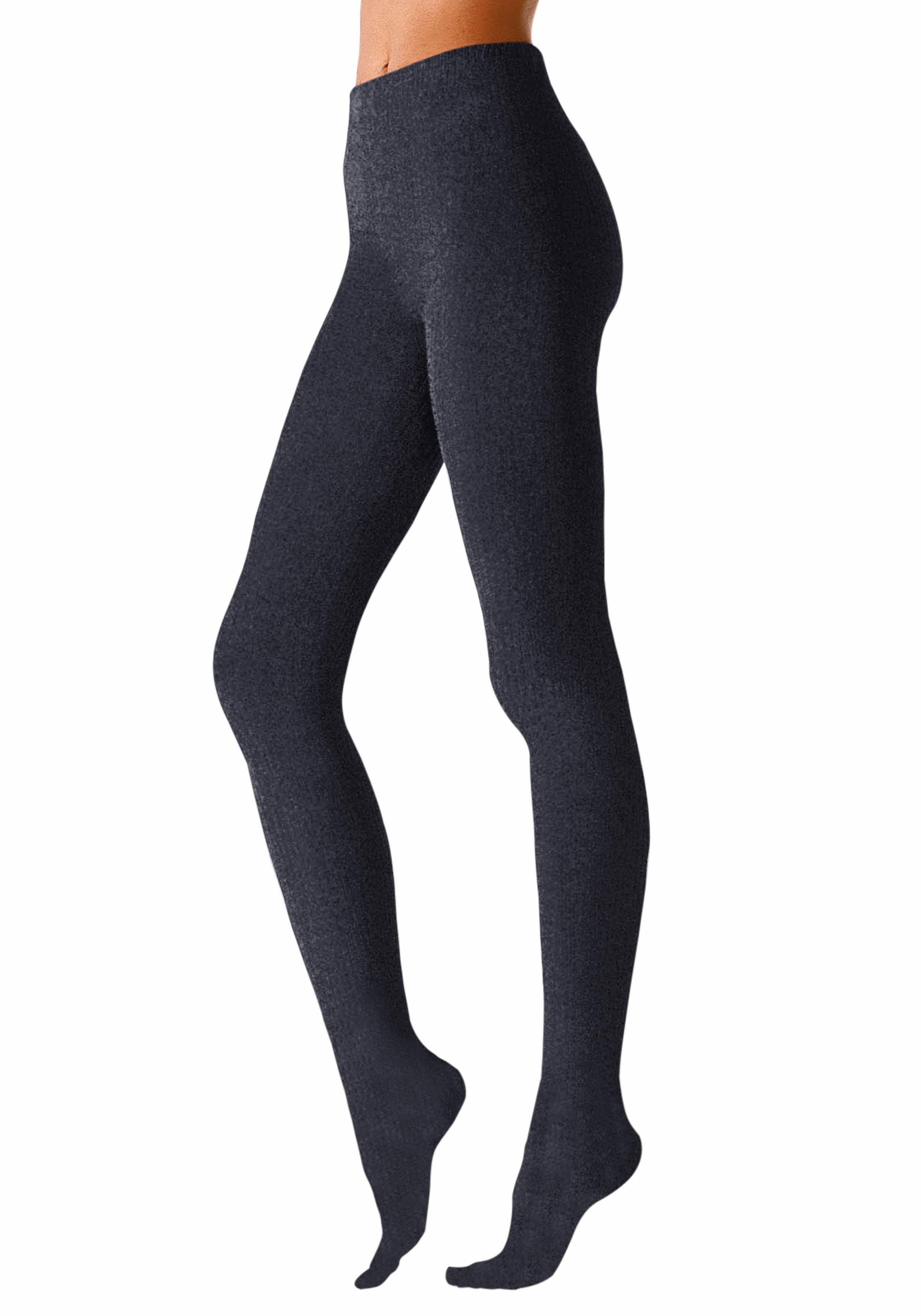 Rogo Strickstrumpfhose Thermosan, formbeständig blau Damen Strickstrumpfhosen Strumpfhosen Damenwäsche