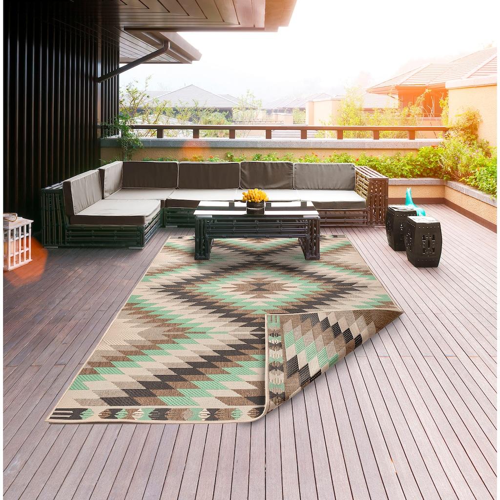 Home affaire Teppich »Antim«, rechteckig, 5 mm Höhe, Flachgewebe, beidseitig verwendbar, In-und Outdoor geeignet, Wohnzimmer