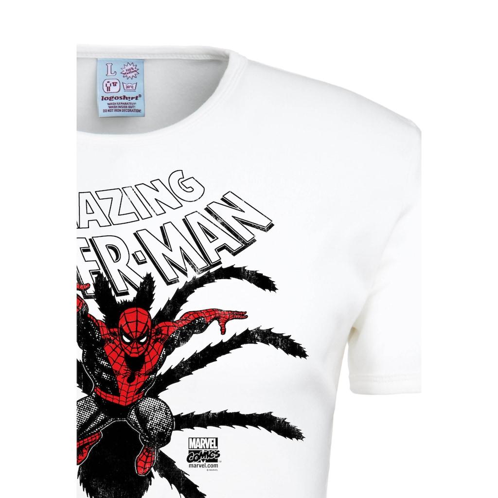 LOGOSHIRT T-Shirt »Spider-Man Birth«, mit lizenzierten Originaldesign