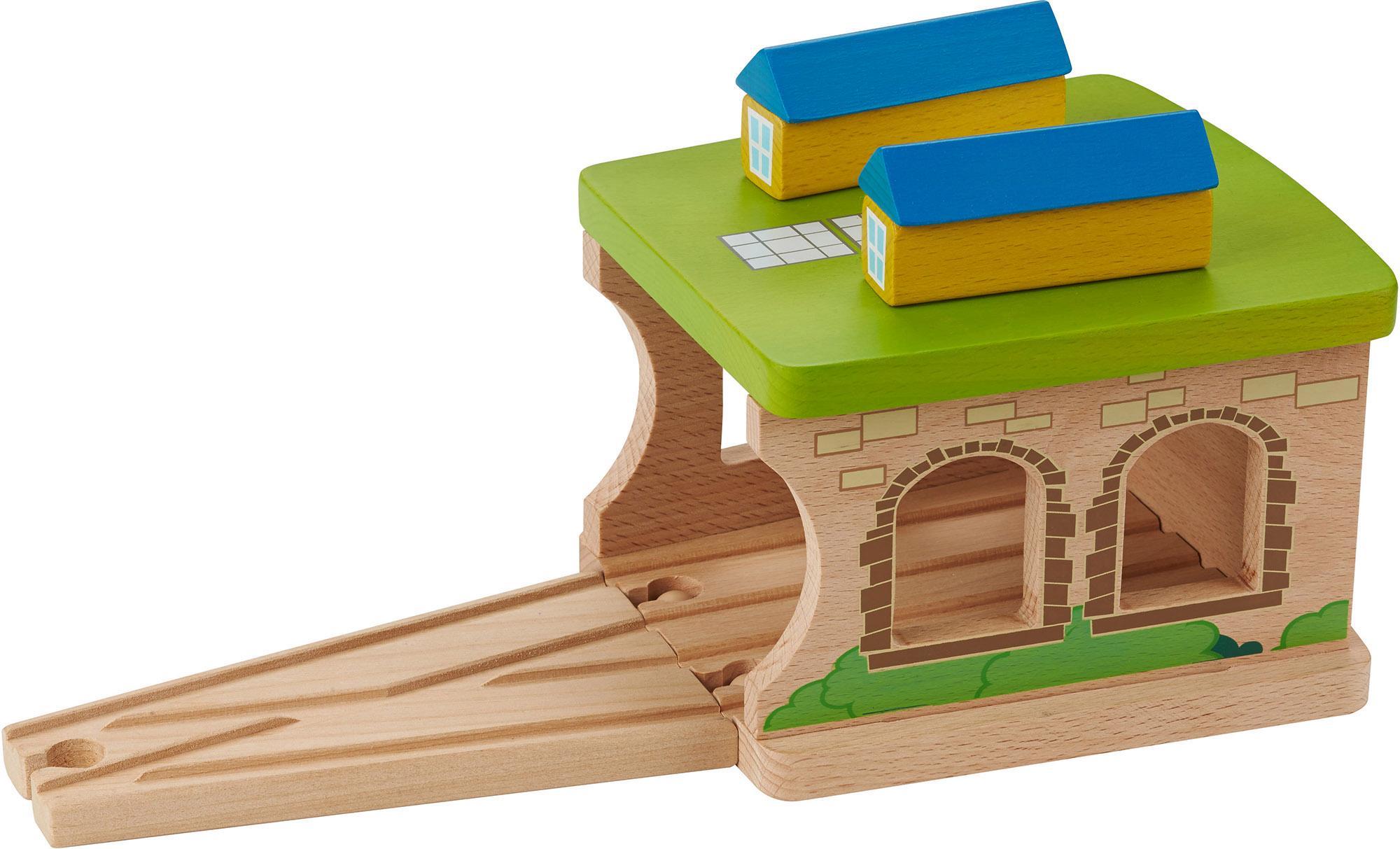 EverEarth Spielzeugeisenbahn-Gebäude Eisenbahnschuppen bunt Kinder Holzspielzeug Spielzeugeisenbahn-Erweiterungen