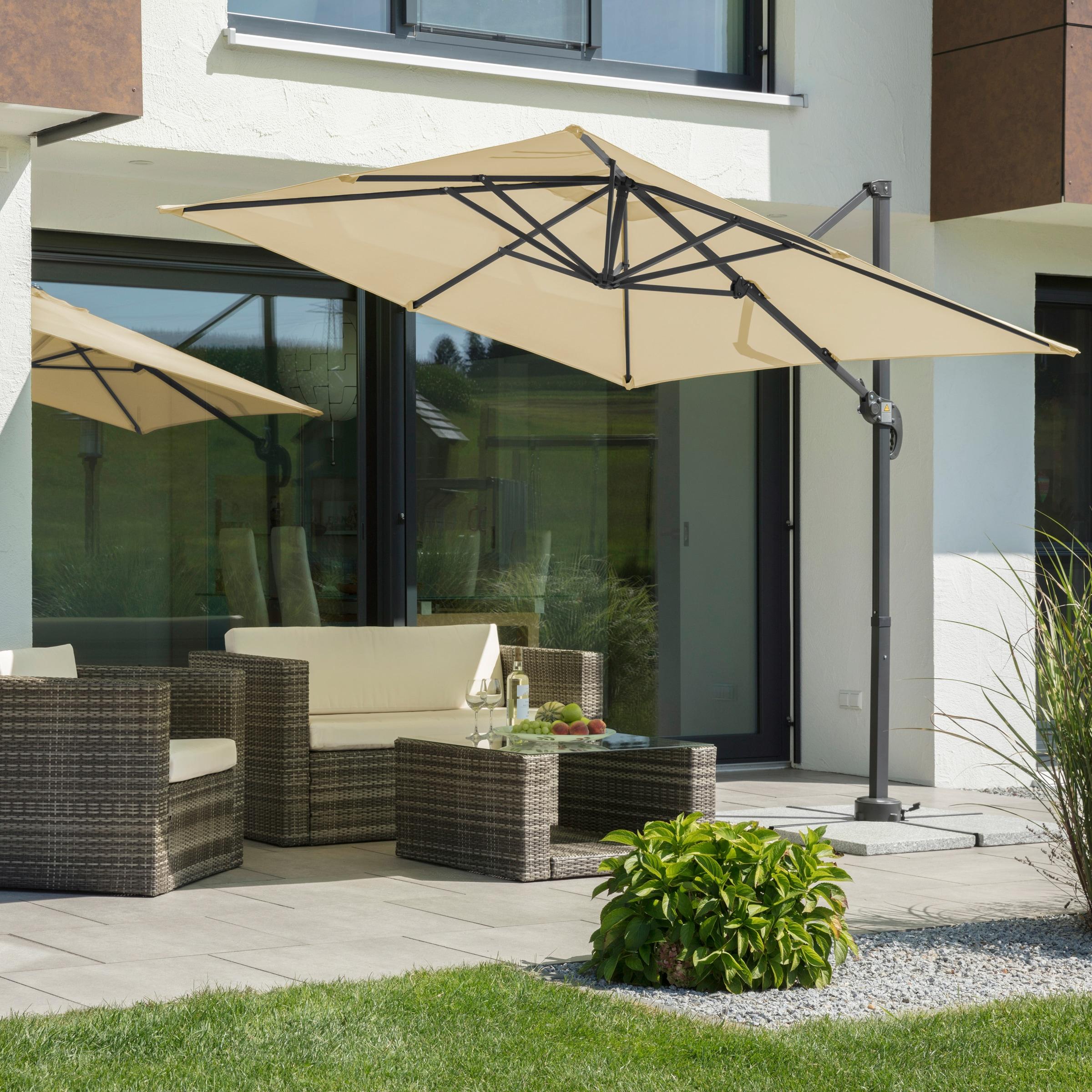 Schneider Schirme Ampelschirm Rhodos Junior, mit Schutzhülle, ohne Wegeplatten beige Sonnenschirme -segel Gartenmöbel Gartendeko